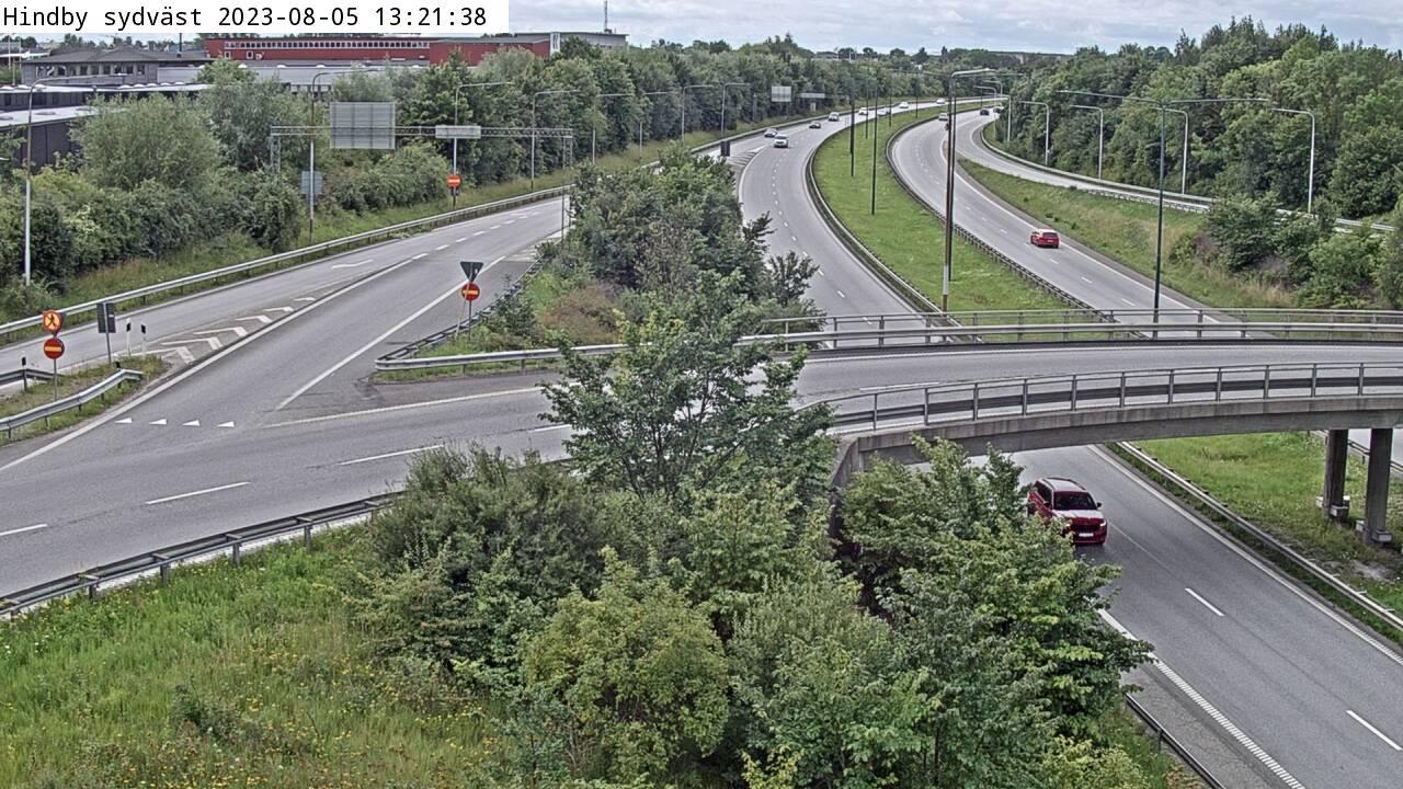 Trafikkamera - Trafikplats Hindby, västerut